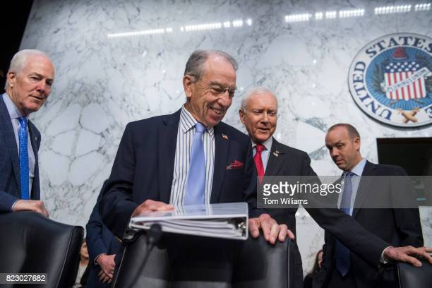Chairman Charles Grassley RIowa center arrives with Sens John Cornyn RTexas left and Orrin Hatch RUtah for a Senate Judiciary Committee in Hart...
