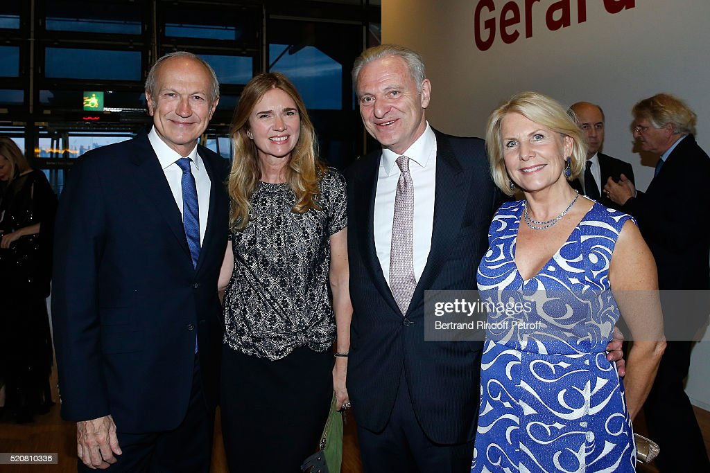 Chairman & Chief Executive Officer of L'Oreal, Chairman of the L'Oreal Foundation <a gi-track='captionPersonalityLinkClicked' href=/galleries/search?phrase=Jean-Paul+Agon&family=editorial&specificpeople=675160 ng-click='$event.stopPropagation()'>Jean-Paul Agon</a>, his companion Sophie Scheidecker, Alain Flammarion and his wife Suzanna attend the Societe des Amis du Musee d'Art Moderne du Centre Pompidou : Dinner Party. Held at Centre Pompidou on April 12, 2016 in Paris, France.