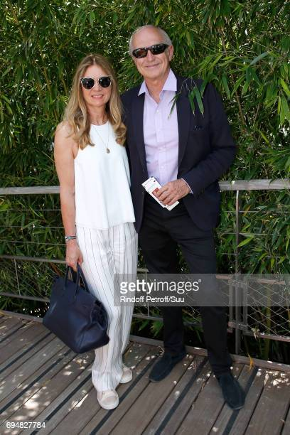Chairman Chief Executive Officer of L'Oreal JeanPaul Agon and his wife Sophie attend the Men Final of the 2017 French Tennis Open Day Fithteen at...