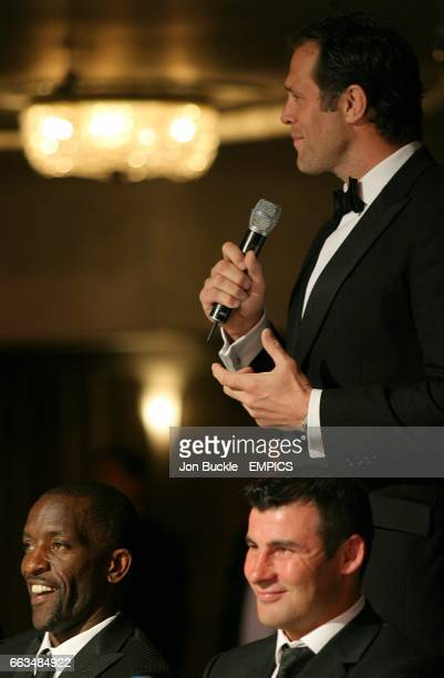 PFA Chairman Chris Powell and Joe Calzaghe as Martin Bayfield speaks at the PFA Player of the Year Awards 2009 at the Grosvenor House Hotel London
