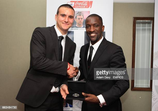 PFA Chairman Chris Powell and Leicester City's Jack Hobbs with his League One Team of the Year award at the PFA Player of the Year Awards 2009 at the...