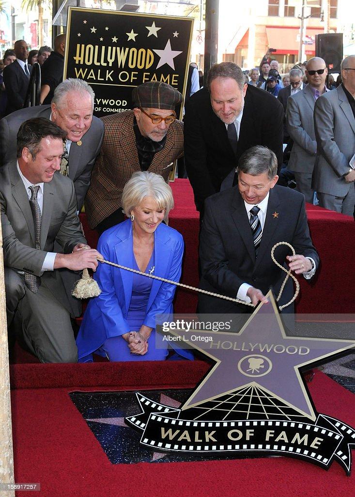 Chairman Christopher Barton, Councilman Tom LaBonge, writer David Mamet, diector Jon Turtletaub, actress Helen Mirren and WOF CEO Leron Gublerparticipate in Helen Mirren Star ceremony on The Hollywood Walk Of Fame on January 3, 2013 in Hollywood, California.