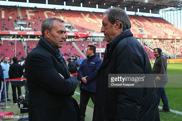 Chairman Claus Horstmann of Cologne and sky reporter Rolf Fuhrmann talk at RheinEnergieStadion on November 19 2011 in Cologne Germany The Bundesliga...