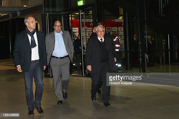 Chairman Claus Horstmann of Koeln press speaker Stephan Brause of the German Football Association and Theo Zwanziger president of the German Football...