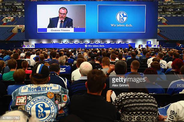 Chairman Clemens Toennies addresses the general assembly of FC Schalke 04 at VeltinsArena on June 28 2015 in Gelsenkirchen Germany