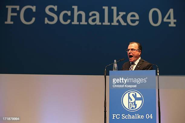 Chairman Clemens Toennies talks during the FC Schalke 04 annual meeting at Veltins Arena on June 29 2013 in Gelsenkirchen Germany