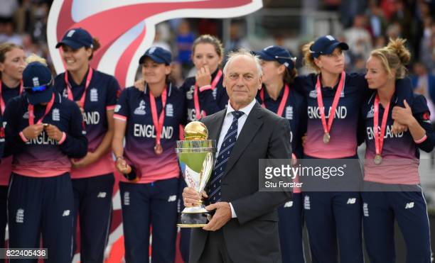 Chairman Colin Graves holds the trophy before presenting it to Heather Knight after the ICC Women's World Cup 2017 Final between England and India at...