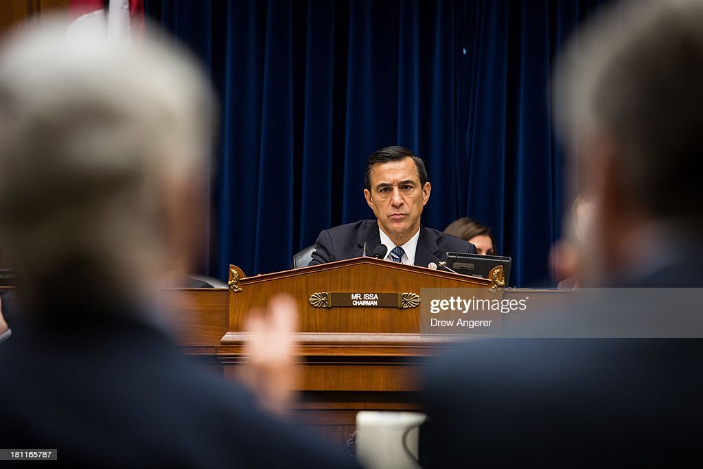 Chairman <a gi-track='captionPersonalityLinkClicked' href=/galleries/search?phrase=Darrell+Issa&family=editorial&specificpeople=2263419 ng-click='$event.stopPropagation()'>Darrell Issa</a> (R-CA) listen to testimony from witnesses during a House Oversight Committee hearing entitled 'Reviews of the Benghazi Attack and Unanswered Questions,' in the Rayburn House Office Building on Capitol Hill, September 19, 2013 in Washington, DC. Committee Chairman <a gi-track='captionPersonalityLinkClicked' href=/galleries/search?phrase=Darrell+Issa&family=editorial&specificpeople=2263419 ng-click='$event.stopPropagation()'>Darrell Issa</a> (R-CA) is continuing to lead the GOP investigation of the Sept. 11, 2012, assaults that killed U.S. Ambassador J. Christopher Stevens and three other Americans at the U.S. Consulate in Benghazi, Libya.