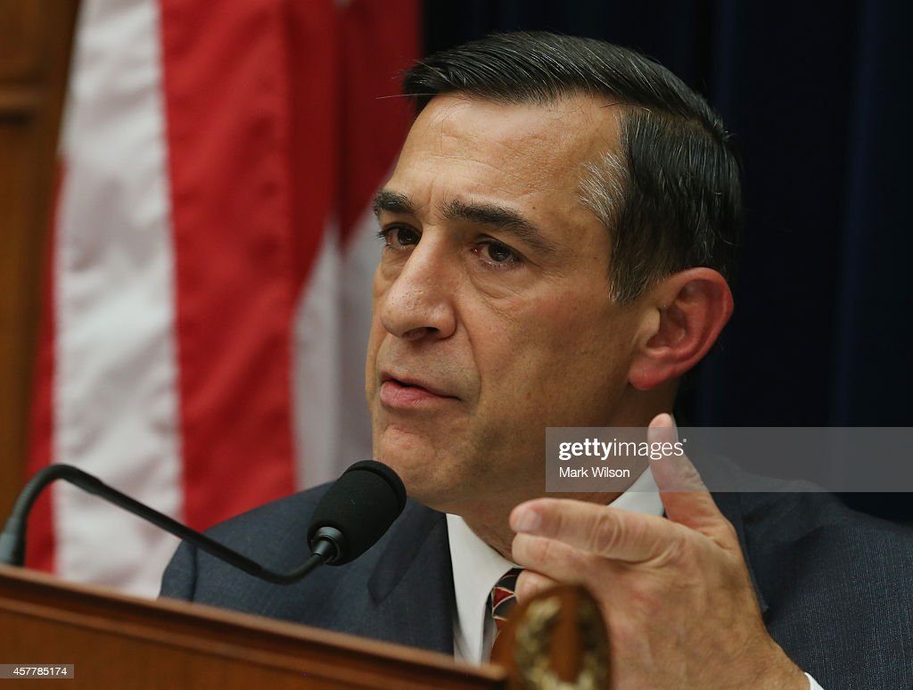 Chairman <a gi-track='captionPersonalityLinkClicked' href=/galleries/search?phrase=Darrell+Issa&family=editorial&specificpeople=2263419 ng-click='$event.stopPropagation()'>Darrell Issa</a> (R-CA) speaks during a House Oversight and Government Reform Committee hearing on Capitol Hill, October 24, 2014 in Washington, DC. The committee is hearing testimony from officials regarding the Ebola crisis and the coordination of the multi-agency response.