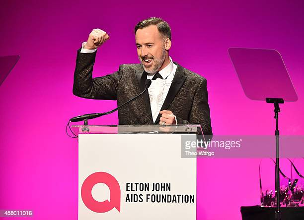 Chairman David Furnish speaks onstage at the Elton John AIDS Foundation's 13th Annual An Enduring Vision Benefit at Cipriani Wall Street on October...