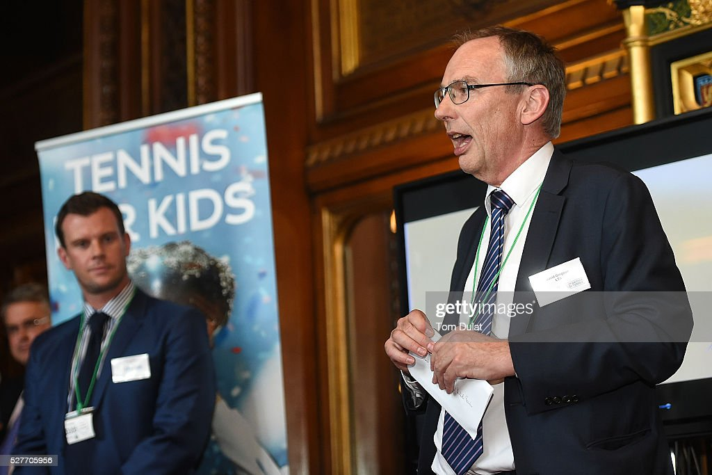 LTA Chairman, David Gregson speaks to guests during the Davis Cup Parliamentary Reception at Houses of Parliament on May 3, 2016 in London, England.