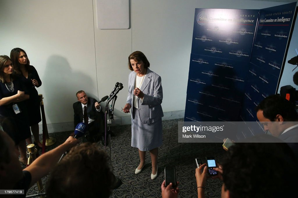Chairman <a gi-track='captionPersonalityLinkClicked' href=/galleries/search?phrase=Dianne+Feinstein&family=editorial&specificpeople=214078 ng-click='$event.stopPropagation()'>Dianne Feinstein</a> (D-CA) speaks to the media after meeting with members of the intelligence community during a Senate Select Intelligence Committee closed door briefing on Capitol Hill, September 5, 2013 in Washington, DC. The committee was briefed on intelligence matters regarding military action against the Syrian government for using chemical weapons against its own people last month.