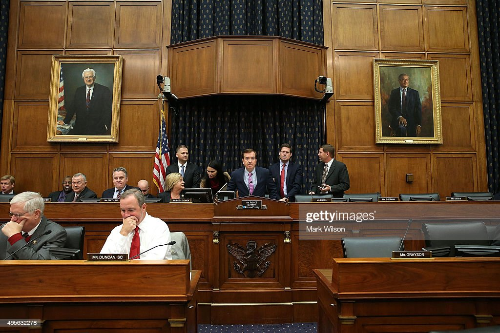 Chairman Ed Royce (R-CA) )C) participates in a House Foreign Affairs Committee hearing on Capitol Hill, November 4, 2015 in Washington, DC. The committee heard testimony from State DepartmentÊofficials onÊU.S. policy after Russia's escalation in Syria.