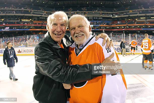 Chairman Ed Snider and Bernie Parent of the Philadelphia Flyers embrace after defeating the New York Rangers 31 following the Alumni Game prior to...