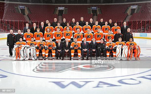 Chairman Ed Snider and members of the Philadelphia Flyers pose for their annual team photo on March 29 2010 at the Wachovia Center in Philadelphia...
