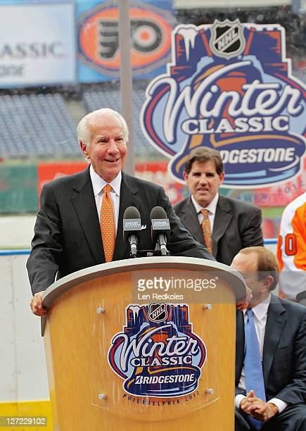Chairman Ed Snider of the Philadelphia Flyers speaks at the NHL 2012 Winter Classic Press Conference at Citizens Bank Park on September 26 2011 in...