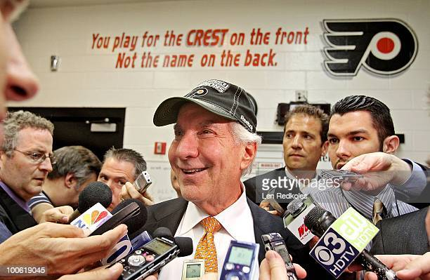 Chairman Ed Snider of the Philadelphia Flyers speaks to the media after defeating the Montreal Canadiens 42 in Game Five of the Eastern Conference...