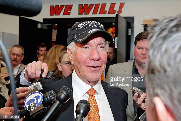 Chairman Ed Snider of the Philadelphia Flyers speaks to the media after defeating the Islanders 74 to clinch the Atlantic Division regular season...