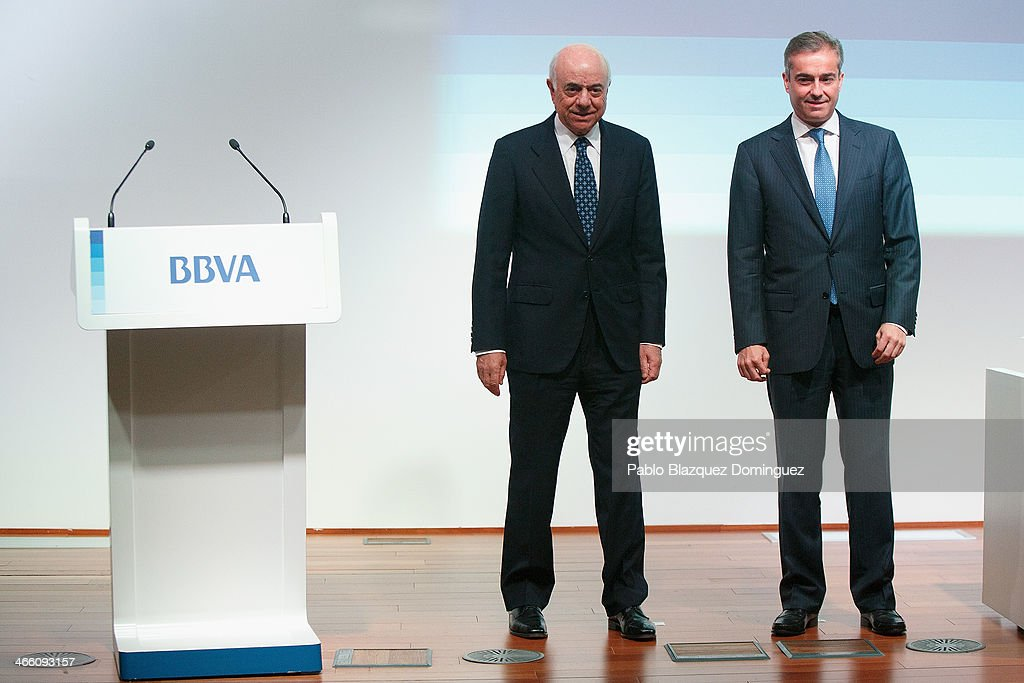 BBVA chairman Francisco Gonzalez and BBVA president and chief operating officer Angel Cano arrive to a press conference announcing the 2013 fullyear...