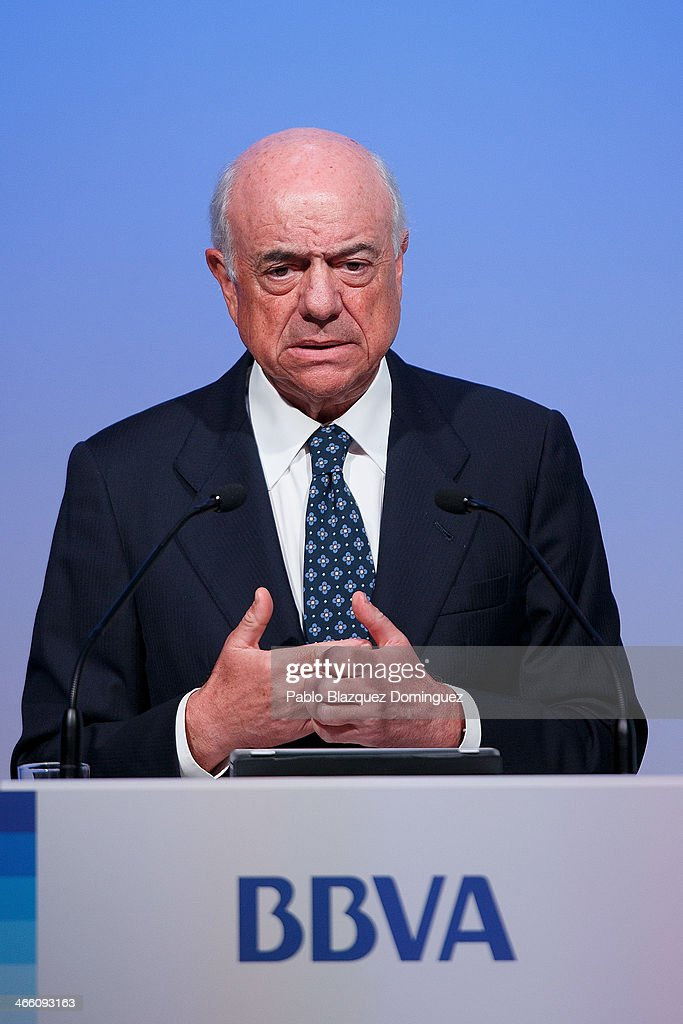 BBVA chairman Francisco Gonzalez speaks during a press conference announcing the 2013 fullyear results on January 31 2014 in Madrid Spain BBVA...