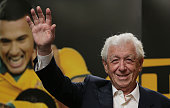 FFA chairman Frank Lowy acknowledges fans during celebrations at Westfield Sydney on February 1 after the Socceroos won the 2015 Asian Cup last night...