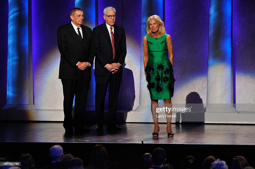 Chairman, Friars Foundation Gift of Laughter for Wounded Warriors Program Leonard Wilf, Co-Founder, Co-CEO, The Carlyle Group David Rubenstein and <a gi-track='captionPersonalityLinkClicked' href=/galleries/search?phrase=Jill+Biden&family=editorial&specificpeople=997040 ng-click='$event.stopPropagation()'>Jill Biden</a> speak onstage at The Lincoln Awards: A Concert For Veterans & The Military Family presented by The Friars Foundation at John F. Kennedy Center for the Performing Arts on January 7, 2015 in Washington, DC.