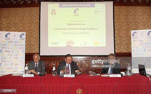 Chairman Giancarlo Dondi Jacopo Volpi and Filippo Grassia speak at a press conference for Italy rugby at the Hotel Principe di Savoia on October 6...