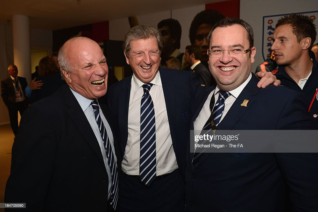 FA Chairman <a gi-track='captionPersonalityLinkClicked' href=/galleries/search?phrase=Greg+Dyke&family=editorial&specificpeople=207080 ng-click='$event.stopPropagation()'>Greg Dyke</a>, England manager <a gi-track='captionPersonalityLinkClicked' href=/galleries/search?phrase=Roy+Hodgson&family=editorial&specificpeople=881703 ng-click='$event.stopPropagation()'>Roy Hodgson</a> and FA General Secretary Alex Horne smile after the FIFA 2014 World Cup Qualifying Group H match between England and Poland at Wembley Stadium on October 15, 2013 in London, England.