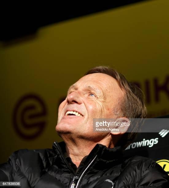 Chairman Hans Joachim Watzke of Borussia Dortmund is seen ahead of the Bundesliga soccer match between Borussia Dortmund and Bayer 04 Leverkusen at...