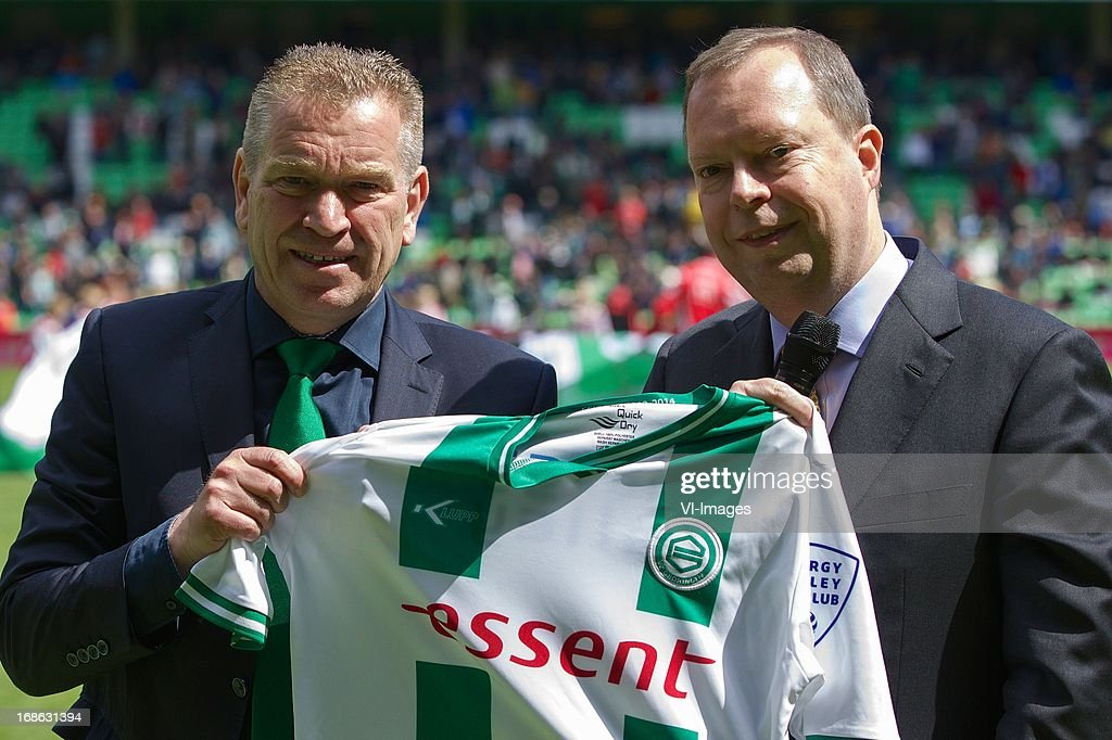 chairman Hans Nijland, CEO RWE Peter Terium during the Dutch Eredivisie match between FC Groningen and Ajax on May 12, 2013 at the Euroborg stadium in Groningen, The Netherlands.