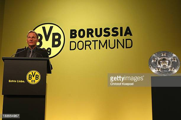 Chairman HansJoachim Watzke of Borussia Dortmund attends the general meeting of Borussia Dormtund at Westfalenhalle 2 on November 20 2011 in Dortmund...