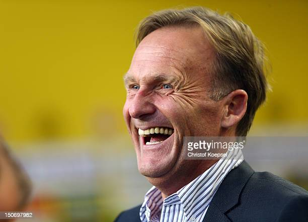 Chairman HansJoachim Watzke of Dortmund laughs during the Bundesliga match between Borussia Dortmund and Werder Bremen at Signal Iduna Park on August...