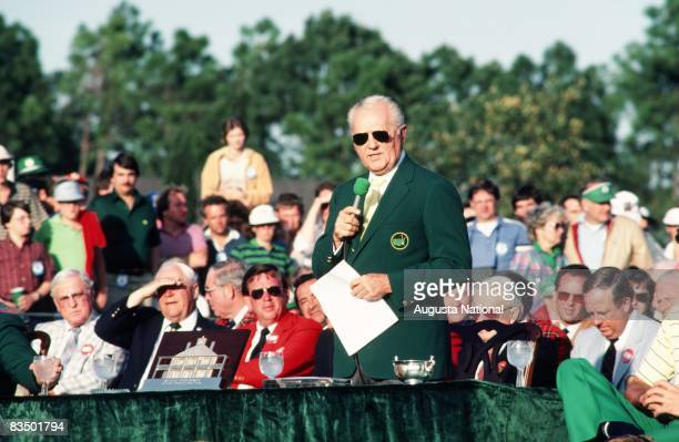 Chairman Hord Hardin speaks at the Presentation Ceremony honoring Seve Ballesteros during the 1983 Masters Tournament at Augusta National Golf Club...