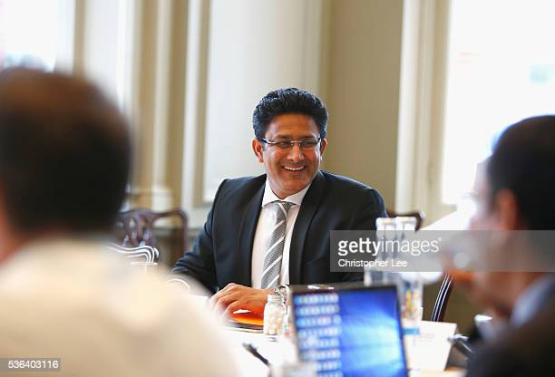 Chairman ICC Cricket Committee Anil Kumble talks to the committee during the ICC Cricket Committee Meeting at Lords on June 1 2016 in London England