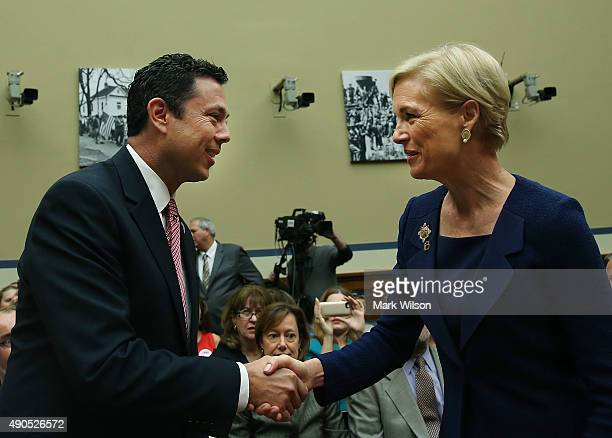 Chairman Jason Chaffetz greets Cecile Richards president of Planned Parenthood Federation of America Inc during her testimony in a House Oversight...