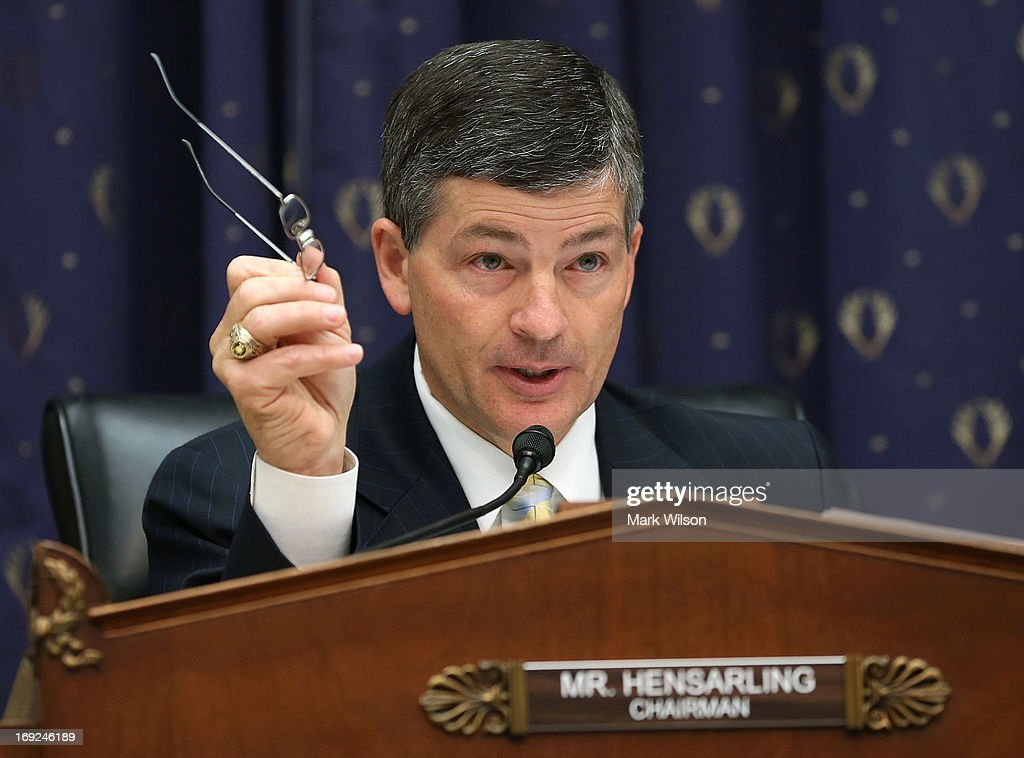 Chairman Jeb Hensarling (R-TX) questions Treasury Secretary Jack Lew during a House Financial Services Committee hearing May 22, 2013 on Capitol Hill in Washington, DC. The committee held a hearing on the Financial Stability Oversight Council's annual report.