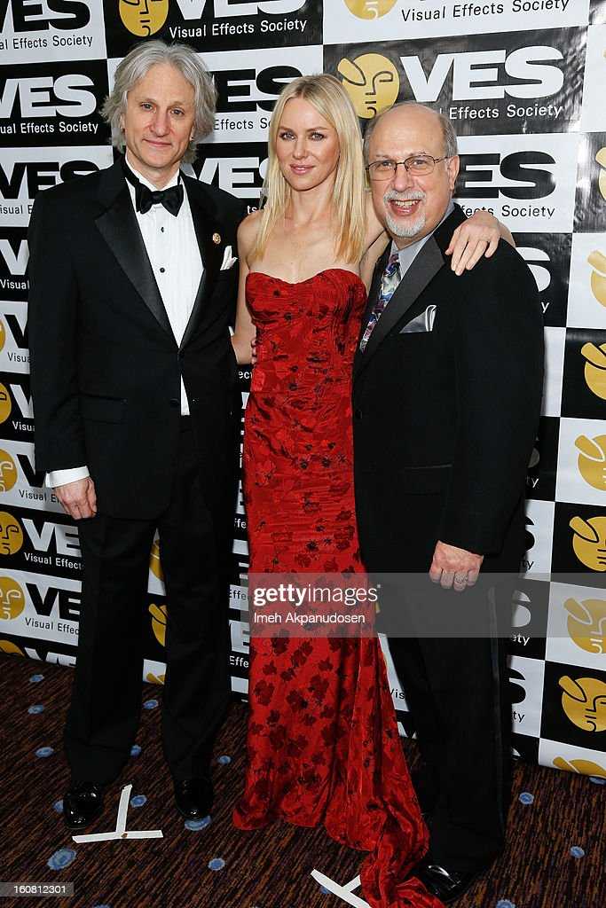 VES Chairman Jeffrey A. Okun, actress <a gi-track='captionPersonalityLinkClicked' href=/galleries/search?phrase=Naomi+Watts&family=editorial&specificpeople=171723 ng-click='$event.stopPropagation()'>Naomi Watts</a>, and VES Executive Director <a gi-track='captionPersonalityLinkClicked' href=/galleries/search?phrase=Eric+Roth&family=editorial&specificpeople=699721 ng-click='$event.stopPropagation()'>Eric Roth</a> pose backstage at the 11th Annual Visual Effects Society Awards at The Beverly Hilton Hotel on February 5, 2013 in Beverly Hills, California.