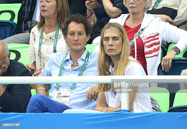 Chairman John Elkann and his wife Lavinia Borromeo attend day 1 of the 2016 Olympic Games swimming competition at Olympic Aquatics Stadium on August...
