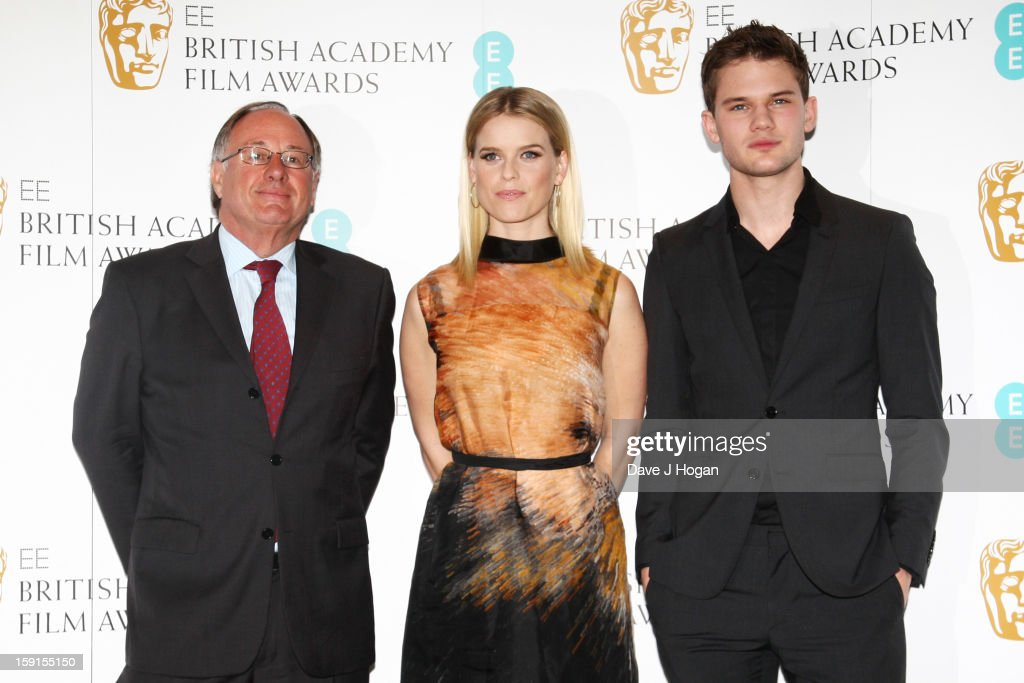 BAFTA chairman John Willis, Alice Eve and Jeremy Irvine attend The EE British Academy Film Awards nominations announcement at at BAFTA on January 9, 2013 in London, England.