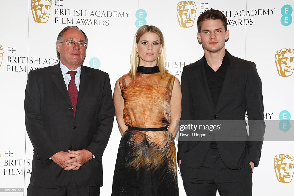 BAFTA chairman John Willis, <a gi-track='captionPersonalityLinkClicked' href=/galleries/search?phrase=Alice+Eve+-+Actress&family=editorial&specificpeople=570229 ng-click='$event.stopPropagation()'>Alice Eve</a> and <a gi-track='captionPersonalityLinkClicked' href=/galleries/search?phrase=Jeremy+Irvine&family=editorial&specificpeople=7595423 ng-click='$event.stopPropagation()'>Jeremy Irvine</a> attend The EE British Academy Film Awards nominations announcement at at BAFTA on January 9, 2013 in London, England.