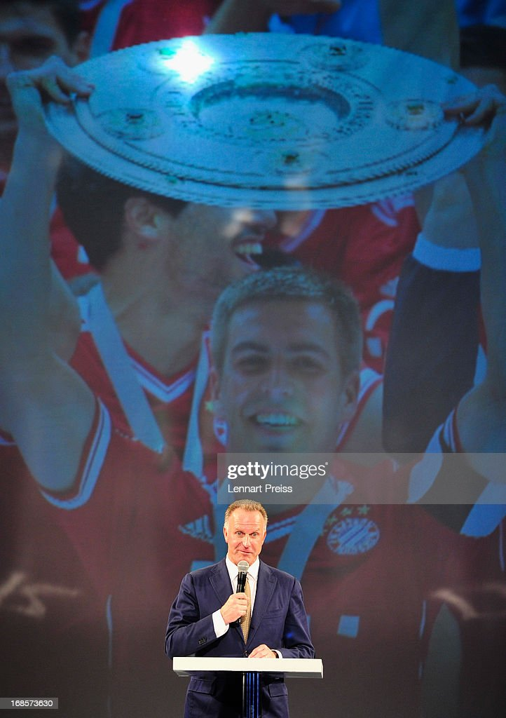 Chairman Karl-Heinz Rummenigge of Bayern Muenchen speaks during the Official Champion dinner after winning the German championship at Postpalast on May 12, 2013 in Munich, Germany.
