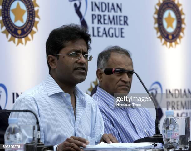 IPL chairman Lalit Modi and Niranjan Shah in Mumbai at the IPL bidding at Four Season's Hotel in Worli on Sunday