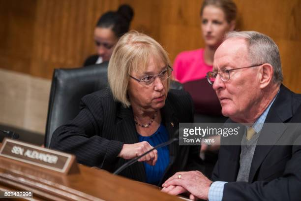 Chairman Lamar Alexander RTenn and Sen Patty Murray DWash ranking member talk during a Senate Health Education Labor and Pensions Committee hearing...