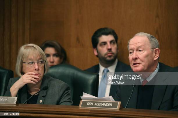 Chairman Lamar Alexander speaks while Sen Patty Murray listens during a Senate Health Education Labor and Pensions committee hearing on Capitol Hill...