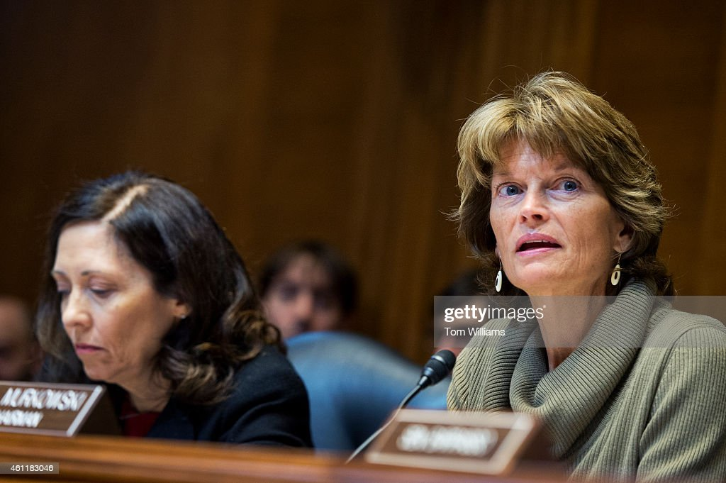 Chairman Lisa Murkowski RAlaska right and Sen Maria Cantwell DWash ranking member conduct a Senate Energy and Natural Resources Committee in Dirksen...