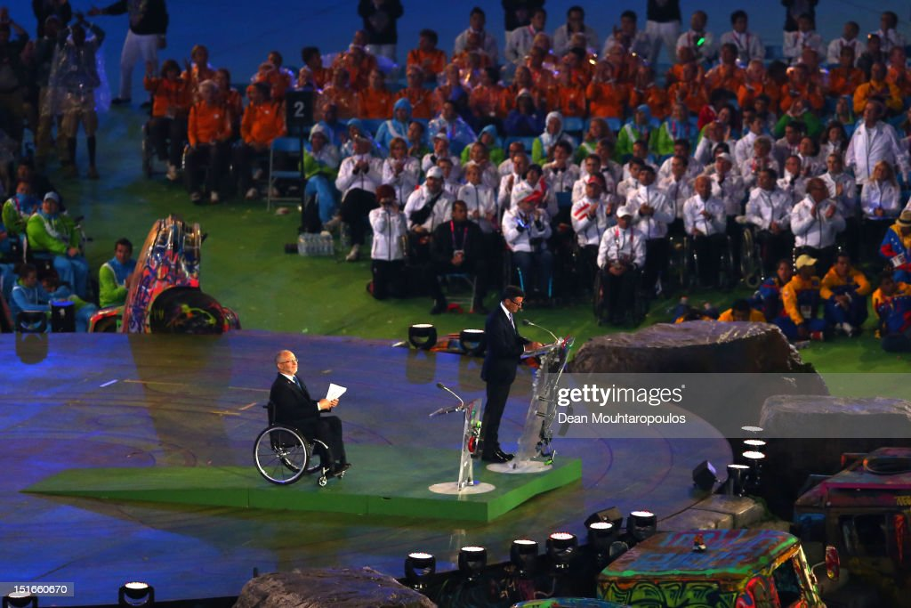 Chairman Lord <a gi-track='captionPersonalityLinkClicked' href=/galleries/search?phrase=Sebastian+Coe&family=editorial&specificpeople=160624 ng-click='$event.stopPropagation()'>Sebastian Coe</a> addresses the crowd as President of the IPC Sir Philip Craven MBE looks on during the closing ceremony on day 11 of the London 2012 Paralympic Games at Olympic Stadium on September 9, 2012 in London, England.