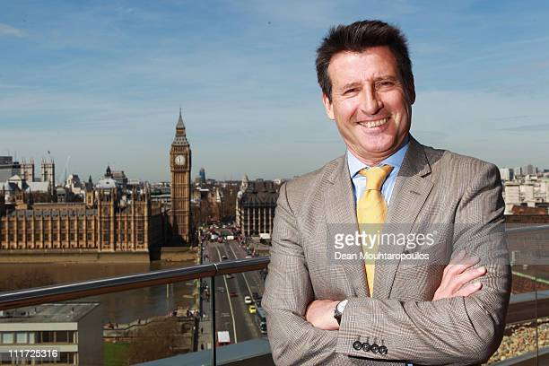 Chairman Lord Sebastian Coe poses for a picture between the IOC Executive Board meetings held at the Westminster Bridge Park Plaza on April 6 2011 in...