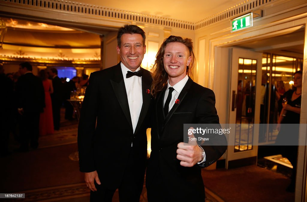 Chairman Lord <a gi-track='captionPersonalityLinkClicked' href=/galleries/search?phrase=Sebastian+Coe&family=editorial&specificpeople=160624 ng-click='$event.stopPropagation()'>Sebastian Coe</a> poses with James Woods of Great Britain during the British Olympic Ball at The Dorchester on October 30, 2013 in London, England.