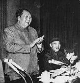 Chairman Mao Zedong President of the People's Republic of China with Vice President Lin Biao sitting next to him speaking at the Ninth Congress of...