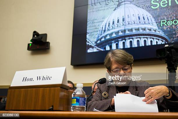 Chairman Mary Jo White is pictured before the start of a House Financial Services Committee hearing on Capitol Hill on November 15 2016 in Washington...